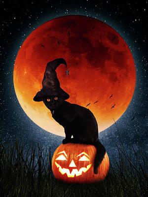 Surrealism Digital Art - Halloween pumpkin and red moon by Mihaela Pater
