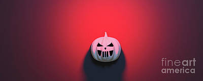 Anne Geddes Florals - Halloween pumpkin on red background. by Michal Bednarek