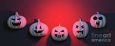 Have A Cupcake - Halloween pumpkins on red background. by Michal Bednarek