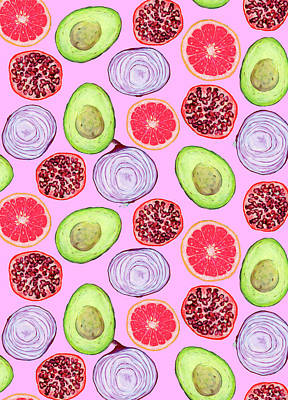 Royalty-Free and Rights-Managed Images - Halved in Pink Pattern by Jennifer Lommers