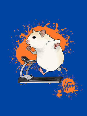 Royalty-Free and Rights-Managed Images - Hamster on a Treadmill by Canine Caricatures Custom Merchandise
