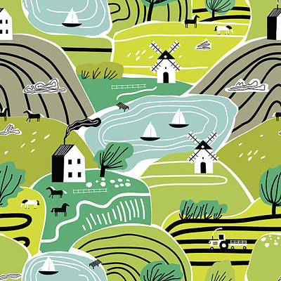Royalty-Free and Rights-Managed Images - Hand drawn abstract scandinavian graphic illustration seamless pattern with house, trees and hills. Nordic nature landscape concept.  by Julien