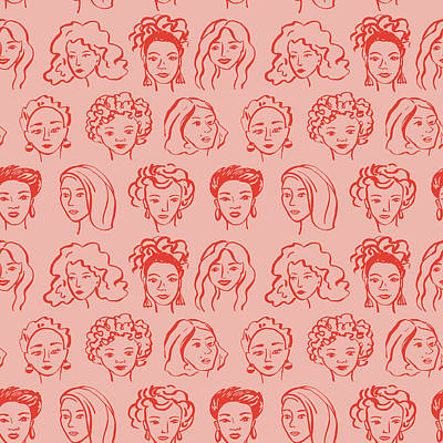 Royalty-Free and Rights-Managed Images - Hand drawn face pattern. Trendy woman face seamless texture with abstract line shapes, minimal girl face. stylized design pattern by Julien