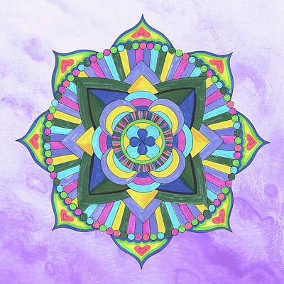 Royalty-Free and Rights-Managed Images - Hand Painted Watercolor Mandala Meditation On Purple by Irina Sztukowski