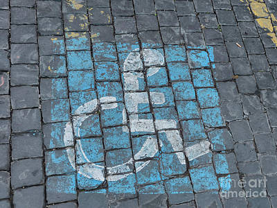 Monochrome Landscapes - Handicap parking on the road in Rome, Italy by Frank Bach