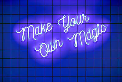 Royalty-Free and Rights-Managed Images - Handwritten neon glowing text Make Your Own Magic on blue tiled wall. Trendy classic color. Luminescent illuminated lamp by Julien
