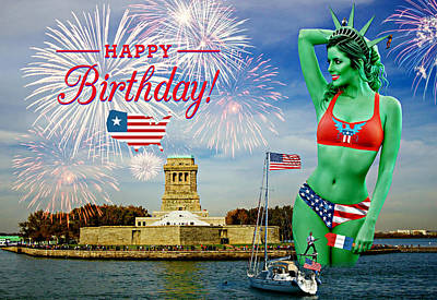 State Word Art - Happy Birthday America II by Aurelio Zucco