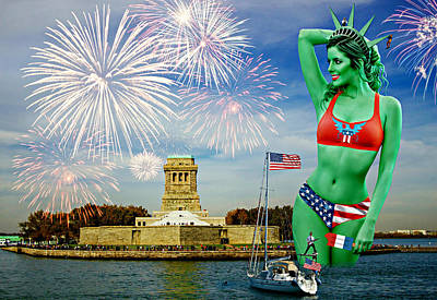 Surrealism Royalty-Free and Rights-Managed Images - Happy Birthday Day America by Aurelio Zucco
