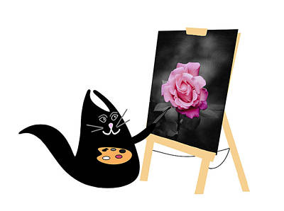 Surrealism Royalty Free Images - Happy Cat The Artist Royalty-Free Image by Grace Joy Carpenter