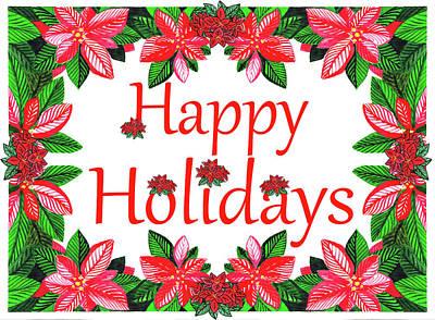 Superhero Ice Pops - Happy Holidays Merry Poinsettia Christmas Watercolor  by Irina Sztukowski
