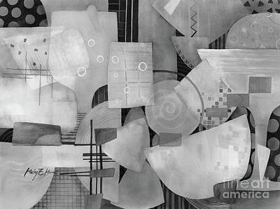 Abstract Oil Paintings Color Pattern And Texture - Happy Hour in Black and White by Hailey E Herrera