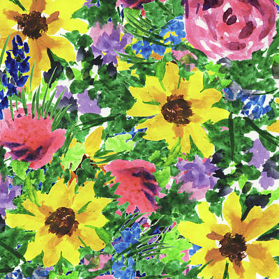 Royalty-Free and Rights-Managed Images - Happy Impressionistic Flower Garden With  Yellow Pink Blue Flowers by Irina Sztukowski