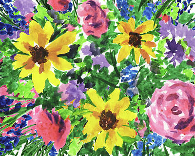 Royalty-Free and Rights-Managed Images - Happy Impressionistic Flowers Yellow Pink Blue Watercolor Bouquet  by Irina Sztukowski