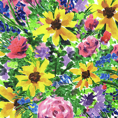 Royalty-Free and Rights-Managed Images - Happy Impressionistic Flowers Yellow Pink Blue Watercolor Flowerbed  by Irina Sztukowski