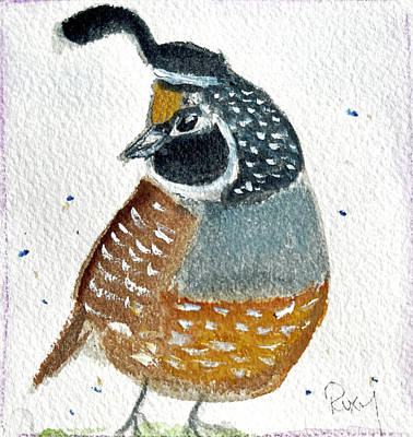 Painting - Happy Little Quail by Roxy Rich