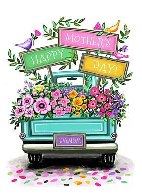 Animals Royalty-Free and Rights-Managed Images - Happy Mothers Day Floral Truck  by Elizabeth Robinette Tyndall