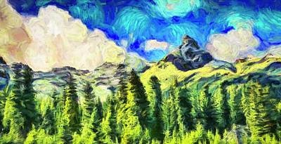 Animal Paintings David Stribbling - Happy Mountain Landscape by Dan Sproul