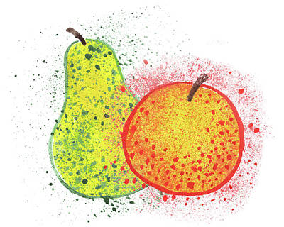 Caravaggio - Happy Pair An Apple And Pear Watercolor Art IV by Irina Sztukowski