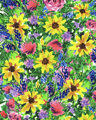 Royalty-Free and Rights-Managed Images - Happy Summer Flowers Impressionism Pattern In Yellow Pink Blue Watercolor  by Irina Sztukowski