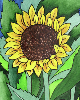Rolling Stone Magazine Covers - Happy Sunflower Batik Style Watercolor  by Irina Sztukowski