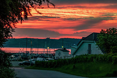Outdoor Graphic Tees - Harbor village 04.15 am June morning Denmark by Kim Lessel