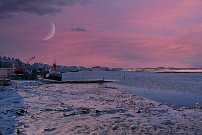 Popular Rustic Neutral Tones - Harbour Street Irvine and the winter Ice on the Frozen shore at  by Jim McDowall