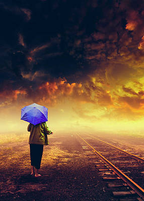 Surrealism Royalty-Free and Rights-Managed Images - Hard Rain by Bob Orsillo