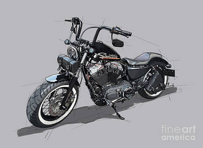 Game Of Chess - Harley Davidson Sportster Handmade Drawing by Drawspots Illustrations