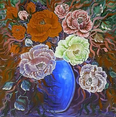 Global Design Shibori Inspired - Harmonious  vase deep orange rose  by Angela Whitehouse