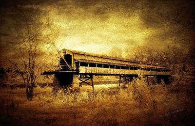 Abstract Oil Paintings Color Pattern And Texture - Harpersfield Covered Bridge Infrared Ashtabula County Ohio  by Robert Gardner