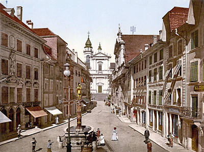 Royalty-Free and Rights-Managed Images - Hauptgasse, Solothurn, Switzerland 1890. by Joe Vella
