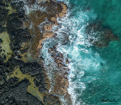 Colored Pencils - Hawaii Shoreline from Above by Mark Dahmke