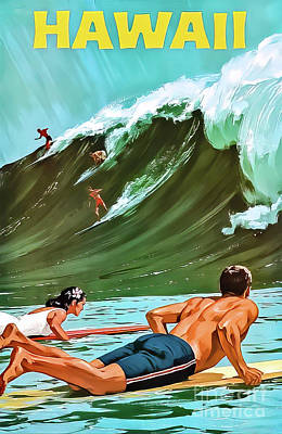 Drawings Royalty Free Images - Hawaii Surf Poster 1960 Royalty-Free Image by Chas Allen