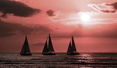 Surrealism Digital Art - Hawaiian Sunset. Waikiki beach. - Surreal Art by Ahmet Asar by Celestial Images