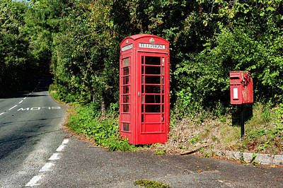 Photograph - Hawkmoor Cottages Red Telephone Box Dartmoor by Helen Northcott