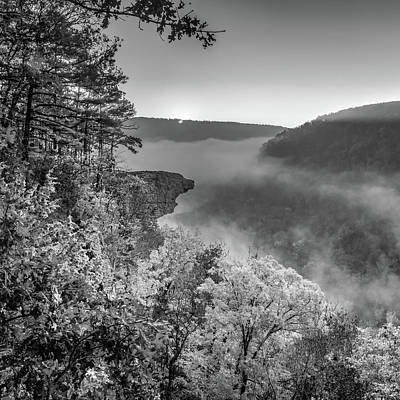 Royalty-Free and Rights-Managed Images - Hawksbill Crag - Whitaker Point Sunrise 1x1 - Black and White Infrared by Gregory Ballos