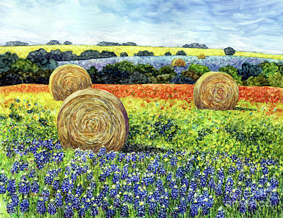 Wild Horse Paintings - Hay bales and Wildflowers by Hailey E Herrera