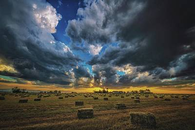 Kitchen Mark Rogan Rights Managed Images - Hay Harvest Sunset Royalty-Free Image by Christopher Thomas