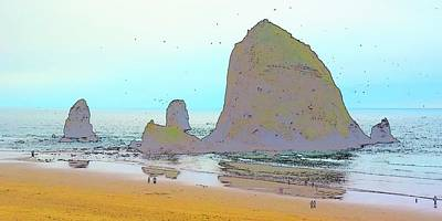Jerry Sodorff Royalty-Free and Rights-Managed Images - Haystack Rock And Beach CS by Jerry Sodorff