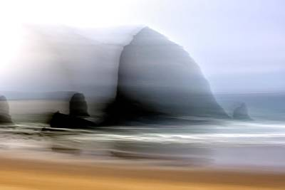Jerry Sodorff Royalty-Free and Rights-Managed Images - Haystack Rock and Beach ICM by Jerry Sodorff