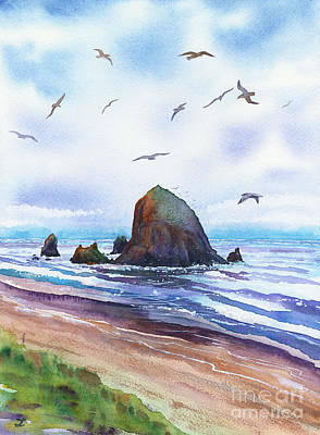 Royalty-Free and Rights-Managed Images - Haystack Rock, Cannon Beach, Oregon Coast by Zaira Dzhaubaeva