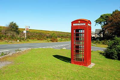 Photograph - Haytor Vale Red Telephone Box Dartmoor by Helen Northcott