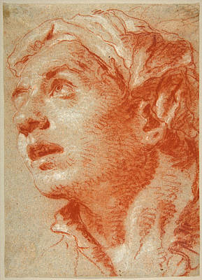 Drawing - Head Of A Young Man In Three-quarter View by Giovanni Battista Tiepolo