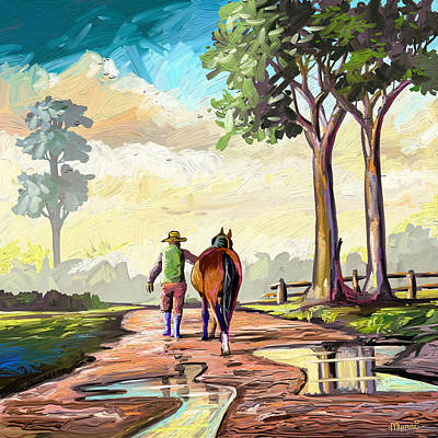 Wild Horse Paintings - Heading Home by Anthony Mwangi