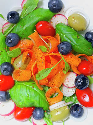 Priska Wettstein Land Shapes Series - Healthy Lovely Carrot Blueberry Tomato Salad by Johanna Hurmerinta