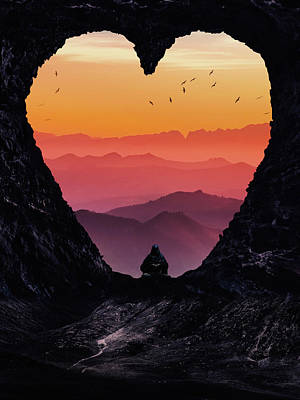 Surrealism Royalty Free Images - Heart gate and mountains sunset  Royalty-Free Image by Mihaela Pater