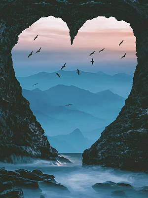 Surrealism Digital Art - Heart gate to the sea and mountains by Mihaela Pater
