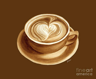 Thomas Kinkade - Heart Latte II - solid background by Hailey E Herrera