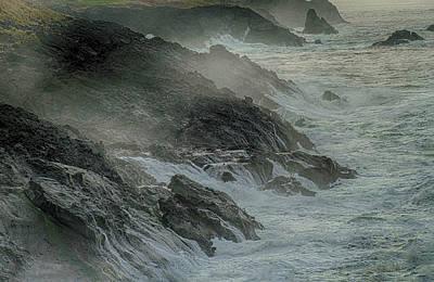 Open Impressionism California Desert - Heavy seas crash on rocks  by Steve Estvanik