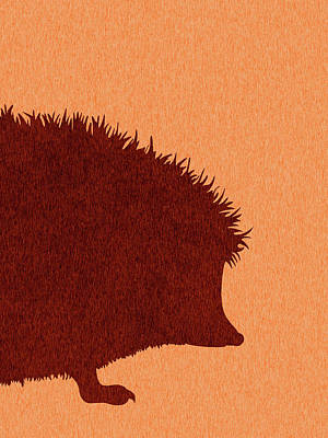 Royalty-Free and Rights-Managed Images - Hedgehog Silhouette - Scandinavian Nursery Decor - Animal Friends - For Kids Room - Minimal by Studio Grafiikka